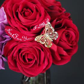 メッセージフラワー赤バラ花束